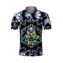 Mens Designer Short Sleeve Lapel Neck Button Up Wolf Abstract 3D Printed Slim Fitted Polo Shirt