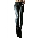 Cool Girls Chic Mid Rise Rivet Embellished Pleated Leather Long Length Plain Skinny Pants