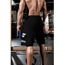 Cool Gym Boys Drawstring Waist Letter TAKE FORM Print Relaxed Fit Jogger Shorts in Black