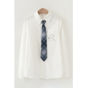 Cute Formal Girls Long Sleeve Lapel Neck Pocket Bear Printed Relaxed Fitted White Shirt with Plaid Tie