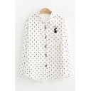 Trendy Ladies White Long Sleeve Lapel Collar Button Down Cat Embroidered Polka Dot Curved Hem Loose Fit Shirt