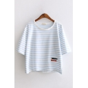 Girls Casual Three-Quarter Sleeve Round Neck Stripe Printed Embroidery Relaxed Fit T-Shirt in Blue