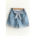 Womens Casual Bow Tied Waist Carrot Embroidered Striped Contrasted Relaxed Fitted Denim Shorts in Blue