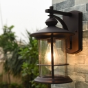 1-Light Clear Seeded Glass Wall Light Country Black/Coffee Finish Cylinder Outdoor Wall Mount Sconce