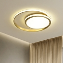 Modern LED Flushmount Lighting Gold Rings Ceiling Fixture with High Penetrated Silica Gel for Bedroom