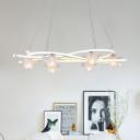 Clear Glass Flower Cluster Hanging Light Modernist 6-Head White LED Suspension Pendant in Warm/White/Natural Light