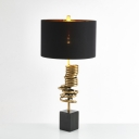 Cylinder Bedroom Night Lighting Metallic 1-Head Contemporary Nightstand Lamp in Black
