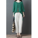 Ladies Trendy Solid Color Three-Quarter Sleeve Round Neck Slit Side Tunic Relaxed T Shirt