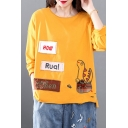 Girls Stylish Long Sleeve Round Neck Letter HOW ROA WHEN Dinosaur Embroidered Distressed Asymmetric Roll Edge Patchwork Relaxed Fit T-Shirt
