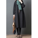 Simple Thickened Long Sleeve Round Neck Solid Color Long Oversize Dress for Women