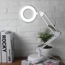 Acrylic Circular Reading Light Simplicity LED White Finish Task Lighting with Metal Adjustable Arm