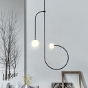 Globe Hanging Chandelier Minimal Opal Glass 2 Heads Living Room Pendant Light Fixture in Black with Twist Design