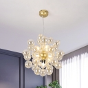 8 Heads Living Room Chandelier Lighting Minimalist Gold Pendant Lamp with Spherical Clear Glass Shade
