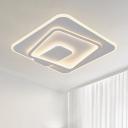 Acrylic Squared Note Shape Flush Ceiling Light Modernism LED White Flush Mount Lamp in Warm/White Light