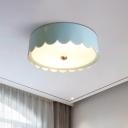 Metallic Scalloped Drum Ceiling Mounted Fixture Modernist LED Flush Lighting in Light Blue