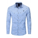 Simple Mens Sky Blue Long Sleeve Lapel Neck Button Down All Over Bee Printed Regular Fit Shirt