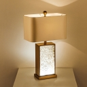 Textured Glaze Rectangle Nightstand Lamp Minimalism 1-Light White Table Light with Fabric Shade