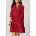 Fancy Girls Three-Quarter Sleeve Stand Collar Tied Neck Polka Dot Print Ruffled Trim Short Pleated A-Line Dress in Red