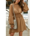 Glamorous Womens Yellow Blouson Sleeve Crew Neck Gathered Waist Sheer Mesh Stringy Selvedge Mini Pleated A-Line Dress