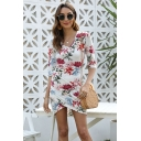 Fancy Ladies Three Quarter Sleeve V-Neck Flower All Over Print Mini Bodycon Tulip Dress in White