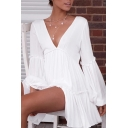 Chic Sexy Womens White Blouson Sleeve V-Neck Ruffled Trim Mini Pleated A-Line Dress