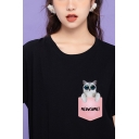 Lovely Girls Rolled Short Sleeve Crew Neck Letter MEOWSOME Pocket Cat Graphic Fitted T-Shirt