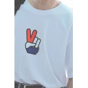 Guys Classic Short Sleeve Round Neck Gesture Printed Relaxed Fit T-Shirt