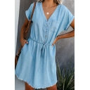 Trendy Ladies Roll Up Sleeve V-Neck Button Up Drawstring Waist Raw Edge Mini A-Line Denim Dress in Light Blue