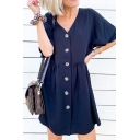 Trendy Girls Short Sleeve V-Neck Button Down Solid Color Ruched Short Swing Dress in Navy