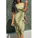 Gorgeous Ladies Sleeveless One Shoulder Bow Tie Waist Maxi Fitted Wrap Dress in Green