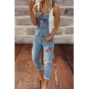 Cool Street Girls Sleeveless Lip Patterned Ripped Bleach Roll Cuffs Ankle Length Slim Fit Suspender Jeans