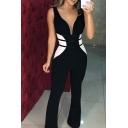 Chic Girls Sleeveless Deep V-Neck Stripe Print Color Block Long Length Flared Jumpsuit in Black