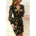 Gorgeous Ladies Long Sleeve Deep Surplice Neck All Over Flower Printed Twist Front Mini Sheath Dress