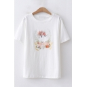 Womens Lovely Short Sleeve Round Neck Cartoon Cat Print Relaxed Fit T-Shirt
