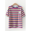 Pretty Girls Short Sleeve Round Neck Floral Rainbow Stripe Patterned Regular Fit Tee