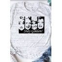 Leisure Girls Roll Up Sleeve Crew Neck Letter STAY GOLDEN Cartoon Graphic Slim Fit T-Shirt