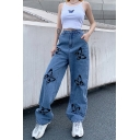 Cool Street Ladies High Rise Allover Butterfly Printed Long Length Wide-Leg Jeans in Blue