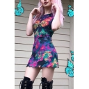 Fancy Ladies Short Sleeve Round Neck Butterfly Tie Dye Print Stringy Selvedge Mesh Mini A-Line Dress in Navy