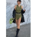 Edgy Girls Sleeveless V-Neck Button Up Letter Print Slit Sides Mini Sheath Tank Dress