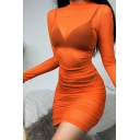 Edgy Girls Glove Sleeve Mock Neck Solid Color Semi-Sheer Mesh Ruched Short Fitted Dress in Orange