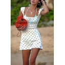 Simple Pretty Short Sleeve Square Neck Ditsy Floral Print Gathered Waist Mini A-Line Dress in White