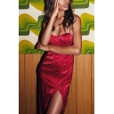 Sexy Ladies Sleeveless Slit Side Floral Printed Mini Shift Cami Dress in Red