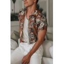 Popular Boys Short Sleeve Lapel Neck Button Down Allover Flower Printed Slim Fit Shirt in Brown