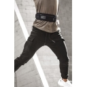 Active Guys Drawstring Waist Flap Pockets Letter BRZK Ankle Fitted Sweatpants
