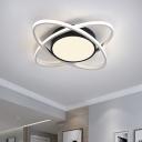 Drum and Cross Ring Flushmount Modernist Acrylic LED Bedroom Flush Light Fixture in Black and White, 20.5