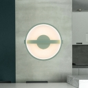 Circle Acrylic Wall Light Sconce Minimalist LED Green Wall Mounted Lamp in White/Warm Light, 12.5