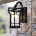1 Light Cylinder Wall Light Sconce Countryside Black Finish Clear Water Glass Wall Mount
