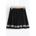 Stylish Street Ladies Elastic Waist Stripe Patterned Mini Pleated A-Line Skirt in Black