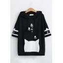 Harajuku Girls Bell Sleeves Drawstring Cat Paw Varsity Stripe Print Japanese Letter Relaxed Hoodie