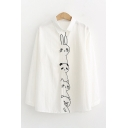 Lovely Girls Long Sleeve Lapel Collar Button Down Rabbit Panda Cat Bear Embroidered Plaid Polka Dot Curved Hem Relaxed Shirt in White